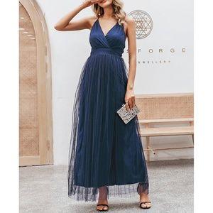 Navy Blue Criss Cross Back Mesh Elegant Maxi Dress